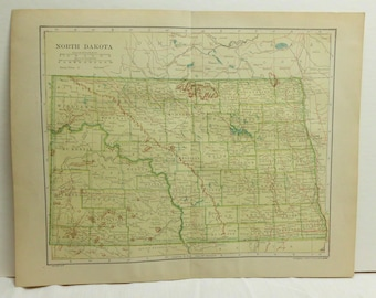 """Antique Map of North Dakota 12.5' x 10"""" Copyright 1906 by Dodd Mead & Co. From 1912 Encyclopedia Original Map #49"""