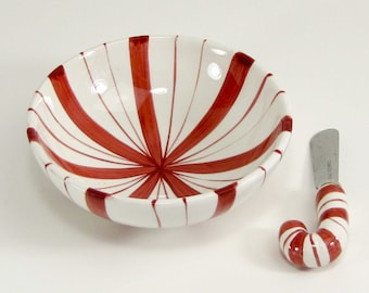 Vintage ceramic candy cane bowl and spreader in original box from Cherrydale