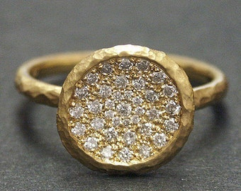 14K solid Yellow gold hammered ring with 0.35 ct. SI1, G color natural brilliant diamonds.