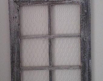 handmade 6 panel  window frame chicken wire