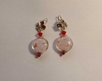 Murano Pink Earrings  Swarovski Crystal Pink Earrings