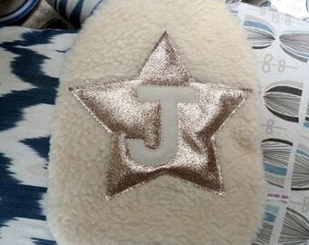 Gold Glitter Star Personalised Hot Water Bottle