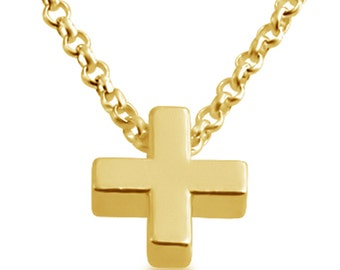 Additional Plus ( + ) Math Symbol Serif Font Charm Pendant Necklace #14K Gold Plated over 925 Sterling Silver #Azaggi N0597G_+