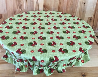 Large Bowl Cover with Ruffle - Chickens