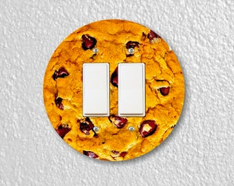 Chocolate Chip Cookie Round Decora Double Rocker Switch Plate Cover