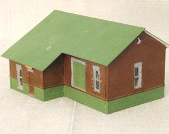 Vintage Train Miniature Model Building, Architectural Model, Architecture, Toy, Depot Station, Plastic, House