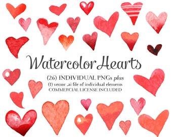 26 Hearts Clipart, Heart Clip Art, Digital Hearts, Hearts, Valentine Clip Art, Hearts Vector - Watercolor - Commercial Use CU OK