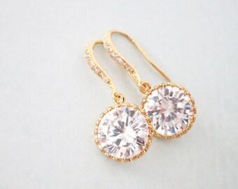 Pamela - Clear White Large Cubic Zirconia Crystal, Big Diamond Earrings, Gold Weddings Earrings, Bridal Earrings, Bridesmaid Earrings