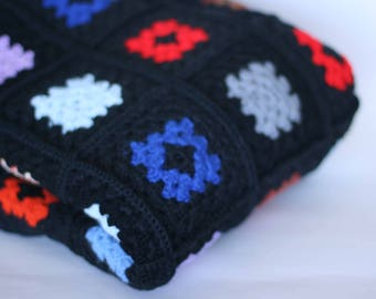 vintage afghan granny square crocheted throw