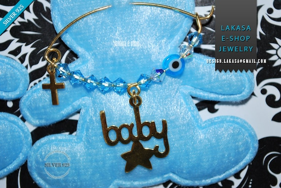 Lucky Star Baby Brooch Sterling Silver Gold Blue Swarovski Crystals Jewelry Best idea Gift Baptism Christian Cross Birthday Mother Mommy Boy