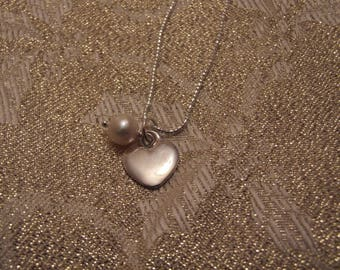 Sterling Silver Heart Pendant with a Freshwater Pearl