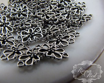 Silvertone Floral Links, 25 pcs, 2 connect points, cute flower links, earring findings, jewelry making, beading, beads - reynaredsupplies