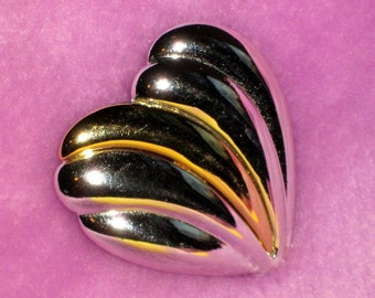 SaLe Unsigned Designer Heart Vintage Brooch Pin Valentines Day Statement Puffed Silver Gold True Love Sweetheart High Relief Glam Runway Mod