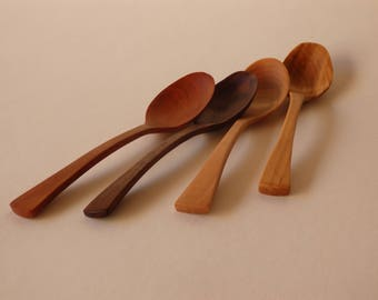 Hand Carved Wooden Teaspoon, Dip or Garnish Serving Spoon, Teaspoon in Maple, Oryoki Spoon, Thank-you Gift