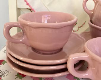 Set of 4 Pink Restaurant-ware Cups and Saucers with scalloped edging by Tepco China, 1950s