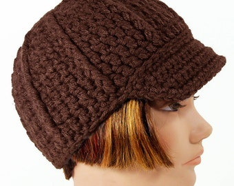 Newsboy Hat with Visor, Men's or Women's Beanie, Brown