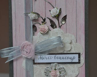 Romantic roses, Ribbon and lace thanks card