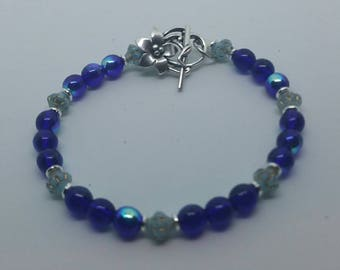 0214-Midnight Blue and Gold Washed Turquoise Bracelet