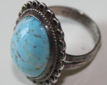 Jahrgang Sterling-Silber und Türkis Ring Größe 5 ovale Steine