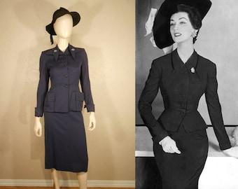 The Devil is in the Details - Vintage 1950s Dark Plum Gabardine Wasp Waist Suit w/Rhinestone Pins - XS