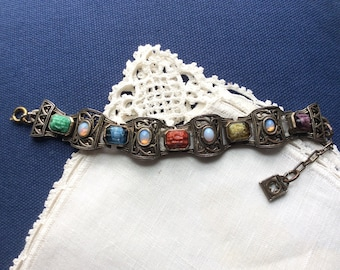 Vintage MIRACLE Multi-Colored Stone Bracelet, 7 to 9 inches, 17.78 to 22.86 cm