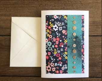 Blue Floral Sequin Greeting Card - Blank