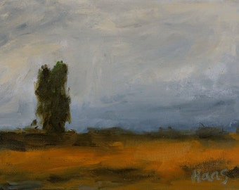 California Plein Air Landscape Oil Painting Original Cloudy Day Clouds Tree Trees Road To Benicia California Artist USA Made Fine Wall Art