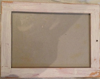 Distressed frame- white/rose pink and wood 21cm x 16cm