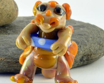 DRAGON, Jessica the swimming dragon,  sculpture  lampwork glass bead ,  whimisical lampwork focal bead, Izzybeads SRA