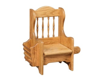 Amish Oak Hand Crafted Childs Potty Chair with Lid and Magazine Rack! Babies Potty Training Toilet! Any Stain!