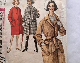 60s Simplicity 5104 Coat with Raglan Sleeves and Scarf Size 12 Bust 32