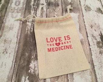 """Cotton First Aid/ Recovery/ Hangover Kit Bags with Red Stitching, 3 1/2"""" X 5"""", Set of 10.  Love is the Best Medicine, Wedding Favor"""