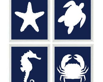 Beach Art Print Set - Nautical Nursery Bathroom Navy Blue White - Sea Creature Seahorse Starfish - Beach House Wall Art Home Decor -
