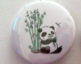 Panda Eating Bamboo Pinback Button