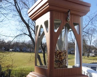 Modern PVC Tube feeder, gothic style, hanging bird feeder, EZ fill and clean, polyvinyl  handmade in USA, Woodgrain, fully assembled
