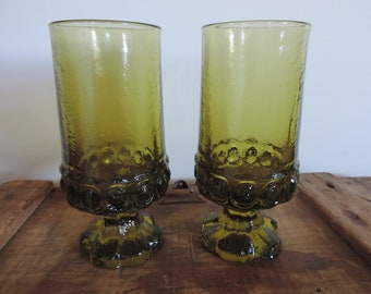 Vintage Tiffin Madeira Citron Olive Green Goblets Set of Two Water Glasses Ice Tea Tumblers 1970's