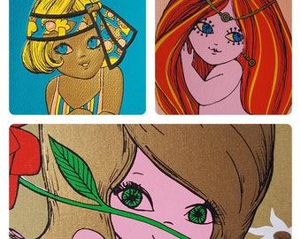 Vintage retro greetings cards | Original 1970s | Unused | Mermaid | Girls | 3 pack