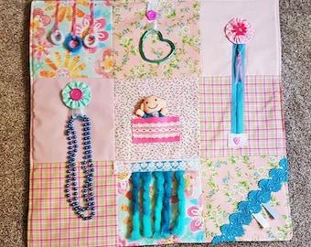 Fidget Blanket Fiddle quilt/  activity sensory busy/ Dementia Alzheimers Stroke Autism Brain Injury