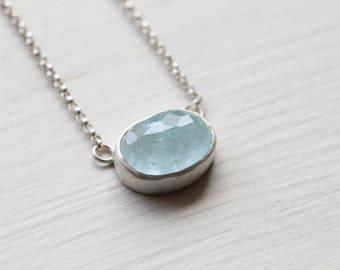 Aquamarine and Silver Necklace - Rose Cut Aquamarine - 17 inches