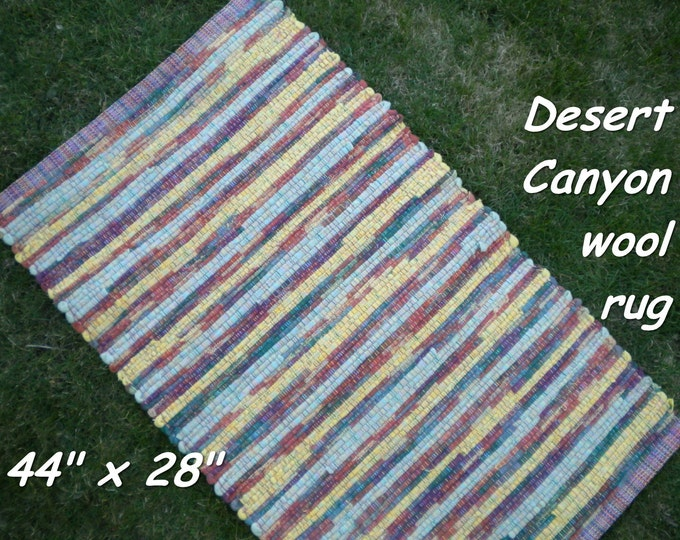 Handwoven --- Desert Canyon --- THICK Wool Fabric Rag Rug --  44 x 28 - one of a set of two