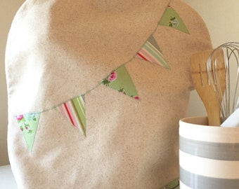 Stand Mixer Cover with Floral and Stripes Banner in Green and Pink