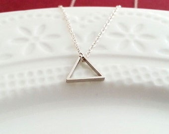 Triangle Necklace, Silver Geometric Necklace, Geo Jewelry, Triangle Pendant, Layering Necklace, Sterling Silver  Necklace,