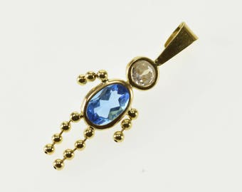 14k December Birthstone Baby Cubic Zirconia Blue Inset Pendant Gold