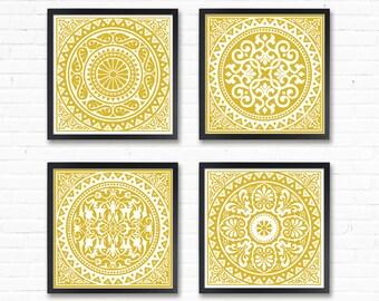 Yellow wall art set Mustard yellow decor Geometric Prints Mustard Wall Art Yellow Prints 8x8 Modern Geometric Yellow Ochre Geometric poster