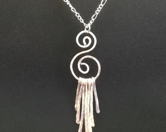 Hammered Silver Wire Wrapped Pendant Necklace