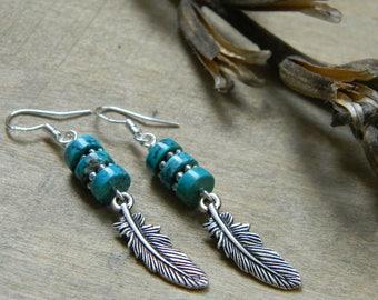 Turquoise earrings feather earrings southwestern jewelry south west earrings bohemian jewelry cowgirl jewelry turquoise jewelry gift for her