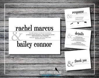 Simple Modern Printable Wedding Invitation Set, Printable Rehearsal invitation - Ampersand invitation - Custom Colors