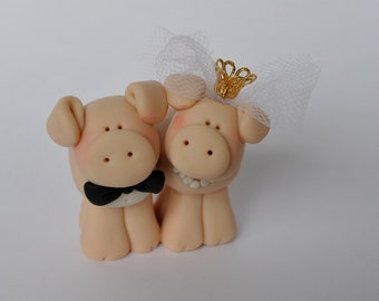 Too Cute Pig Bride and Groom Wedding Cake Topper
