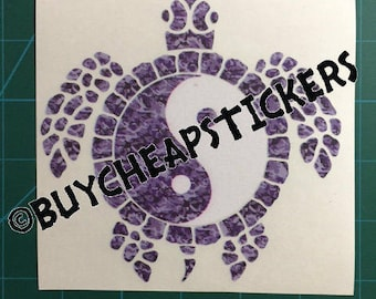 Yin Yang Sea Turtle Decal/Sticker Purple Camo 5x5