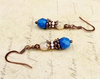 Blue Earrings, Cream Earrings, Copper Earrings, Victorian Earrings, Blue Dangle Earrings, Copper Dangle Earrings, Czech Glass Beads, Gifts